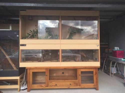 4 Tank Reptile Enclosure With Stand Cabinet